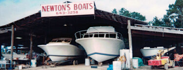 Early Reef Divers' boat under construction at the Newton shipyard